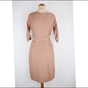Vintage 1960's brown dress fitted career sz:S